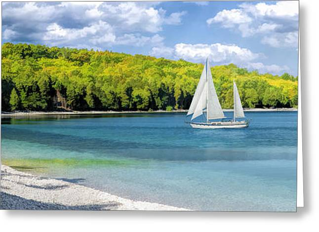 Schoolhouse Greeting Cards - Schoolhouse Beach Panorama on Washington Island Door County Greeting Card by Christopher Arndt