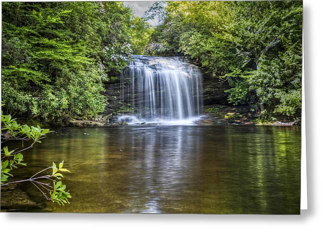 Rocky In Spring Greeting Cards - Schoolhouse Falls Greeting Card by Debra and Dave Vanderlaan