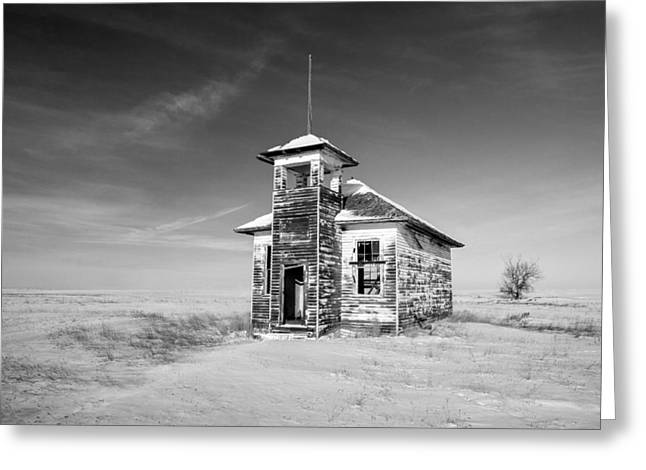 School's Out In Black And White Greeting Card by Todd Klassy