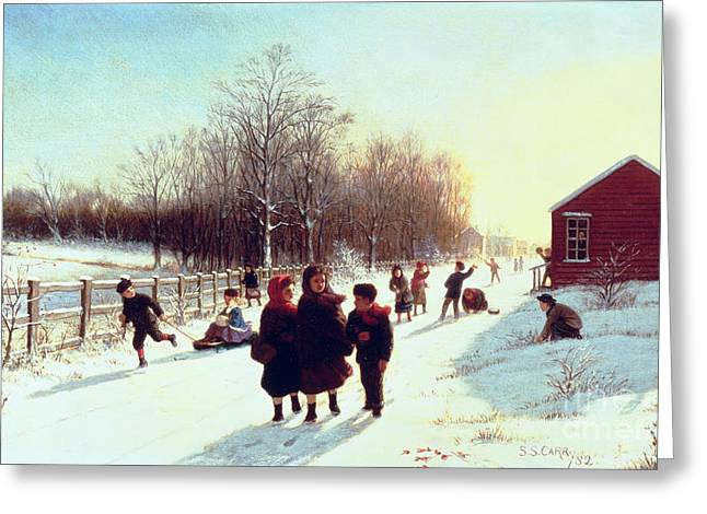 Snowy Day Greeting Cards - Schools Out Greeting Card by Samuel S Carr