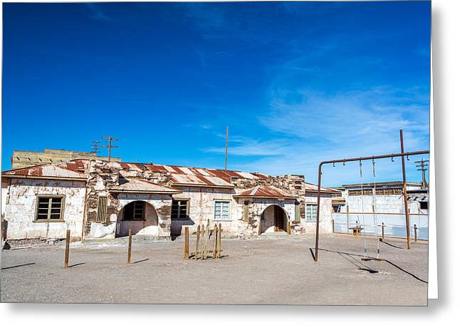Schoolyard In Abandoned Town Greeting Card by Jess Kraft