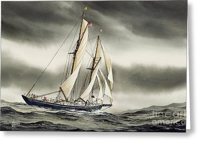 Tall Ship Canvas Greeting Cards - Schooner BLACKFISH Greeting Card by James Williamson