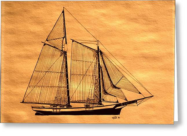 Tall Ship Mixed Media Greeting Cards - Schooner Forgiven Greeting Card by Doug Mills