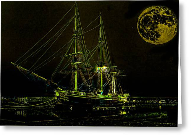 Sea Moon Full Moon Greeting Cards - Schooner Friendship and the Super Moon Greeting Card by William Jobes