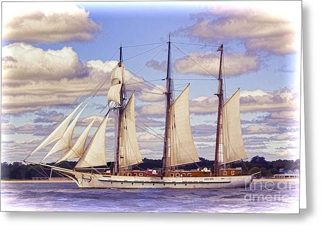New England Ocean Greeting Cards - Schooner Mystic Under Sail Greeting Card by Joe Geraci