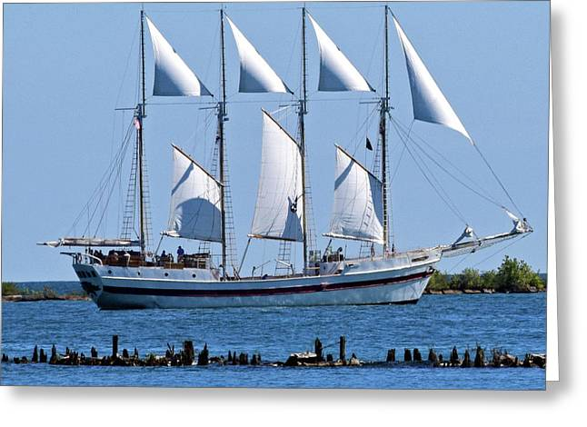 Schooner On Lake Michigan 1-2 Greeting Card by Sandy Taylor