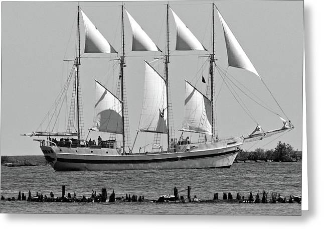 Schooner On Lake Michigan No. 1-3 Greeting Card by Sandy Taylor
