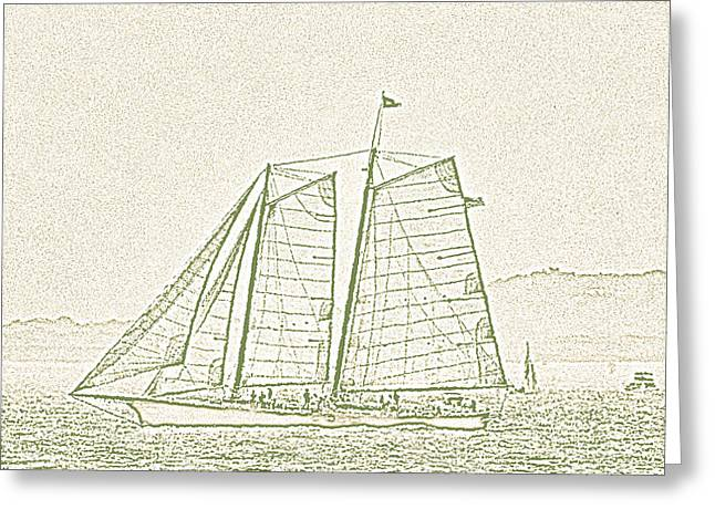 Schooner On New York Harbor No. 3-2 Greeting Card by Sandy Taylor