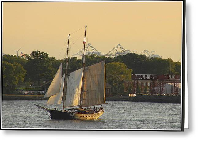 River View Greeting Cards - Schooner on The New York Harbor Greeting Card by  Photographic Art and Design by Dora Sofia Caputo
