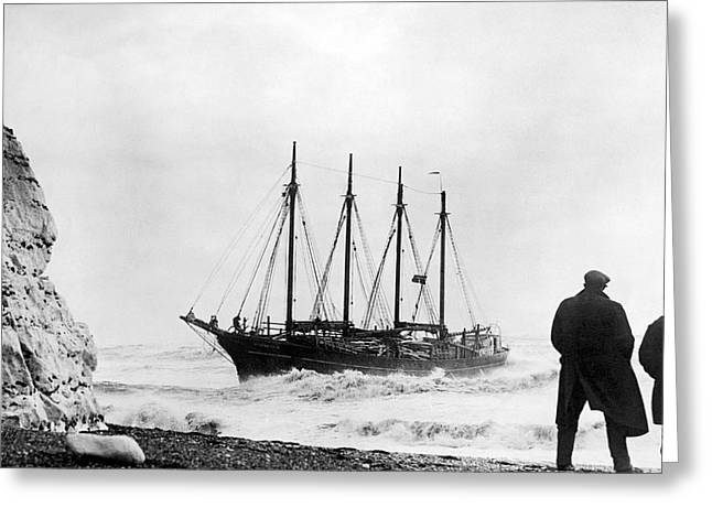 Schooner Shipwreck Greeting Card by Underwood Archives