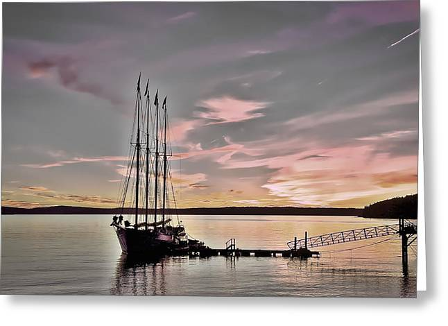 Yellow Sailboats Greeting Cards - Schooner Sunrise #2 Greeting Card by Stuart Litoff