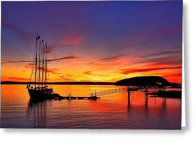 Tall Ship Greeting Cards - Schooner Sunrise #3 Greeting Card by Stuart Litoff