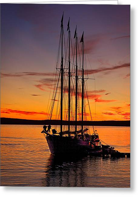 Tall Ship Greeting Cards - Schooner Sunrise #5 Greeting Card by Stuart Litoff