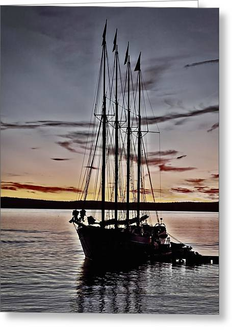 Tall Ship Greeting Cards - Schooner Sunrise #6 Greeting Card by Stuart Litoff