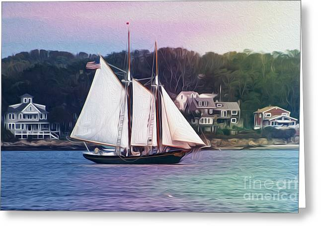 Tall Ship Greeting Cards - Schooner Greeting Card by Tom Gari Gallery-Three-Photography