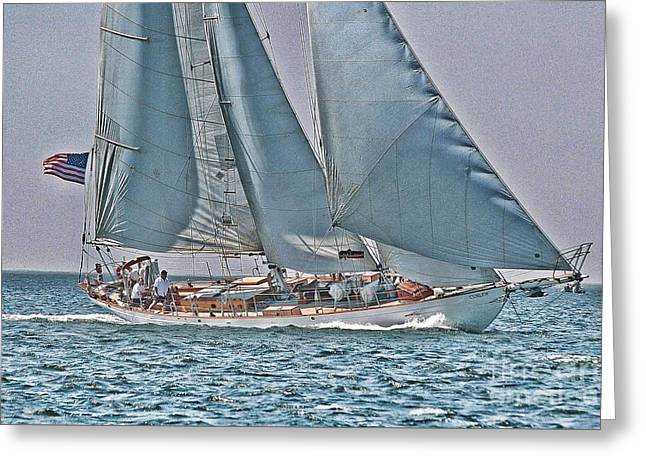 Tall Ships Greeting Cards - Schooner under sail Greeting Card by Philippe Gadeyne