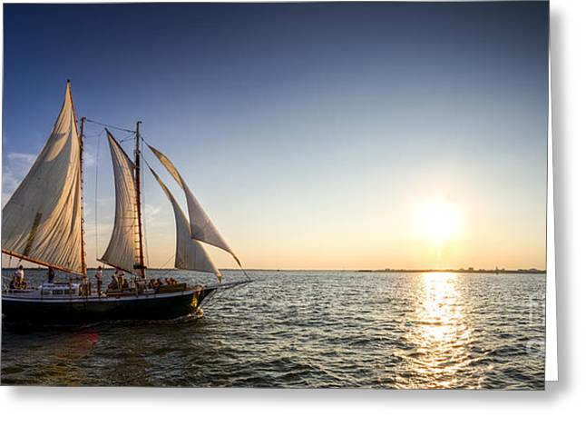 Tall Ships Greeting Cards - Schooner Welcome Sunset Charleston SC Greeting Card by Dustin K Ryan