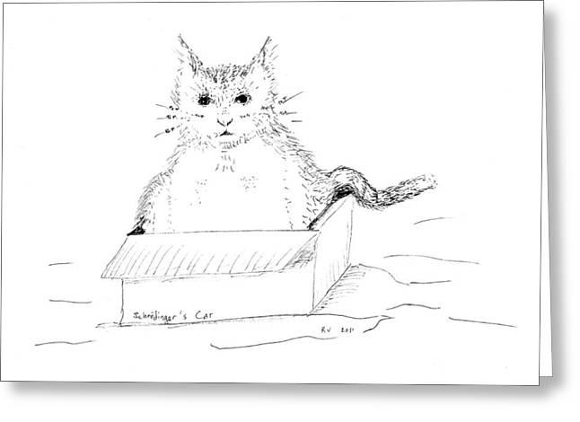 Schrodinger Cat Greeting Card by Regina Valluzzi