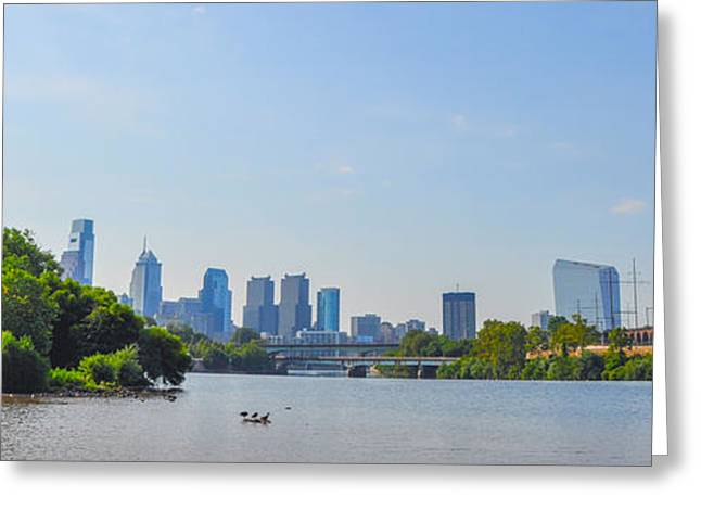 Schuylkill Digital Art Greeting Cards - Schuylkill River Panorama - Philadelphia Greeting Card by Bill Cannon