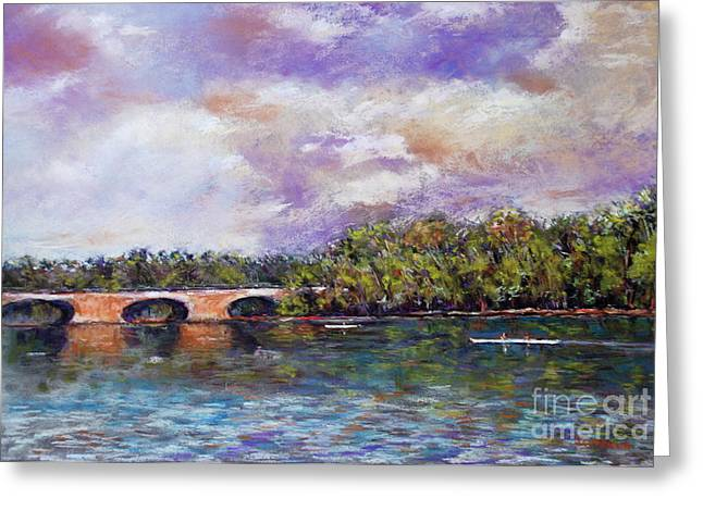 Pa Pastels Greeting Cards - Schuylkill River Rowers Greeting Card by Joyce A Guariglia