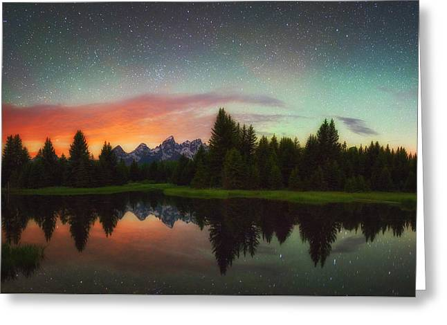 Night Photography Greeting Cards - Schwabacher Heavens Greeting Card by Darren  White