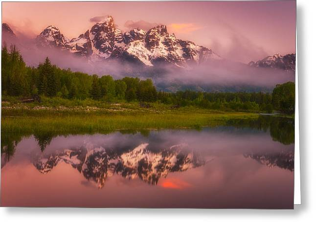 Snow Capped Mountains Greeting Cards - Schwabacher Sweets Greeting Card by Darren  White