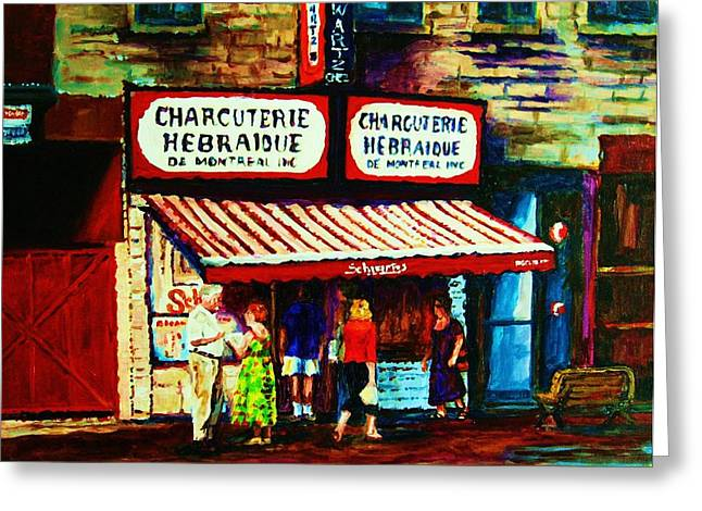 Montreal Restaurants Greeting Cards - Schwartzs Famous Smoked Meat Greeting Card by Carole Spandau