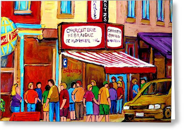 Out-of-date Greeting Cards - Schwartzs Hebrew Deli Montreal Streetscene Greeting Card by Carole Spandau