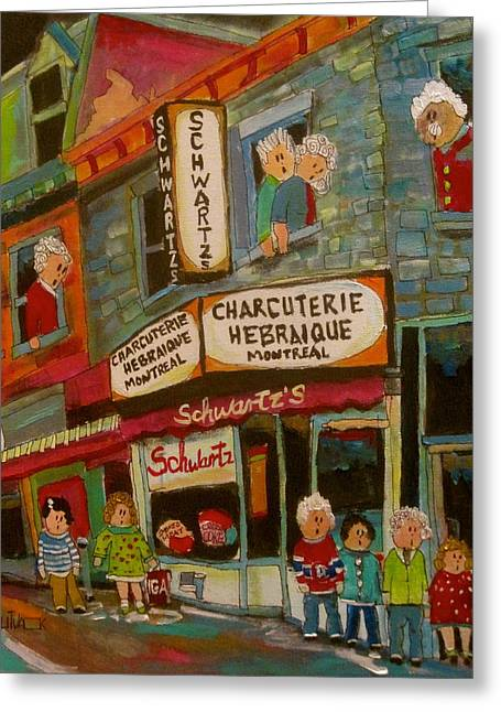 Michael Litvack Greeting Cards - Schwartzs Neighbourhood Greeting Card by Michael Litvack
