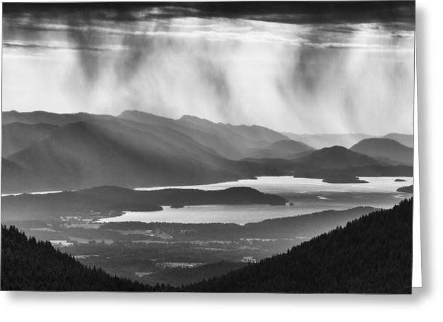 Schweitzer Mountain Storm Greeting Card by Mark Kiver