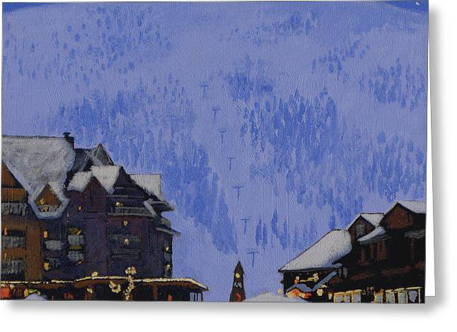 Ski Village Greeting Cards - Schweitzer Nights Greeting Card by Robert Bissett