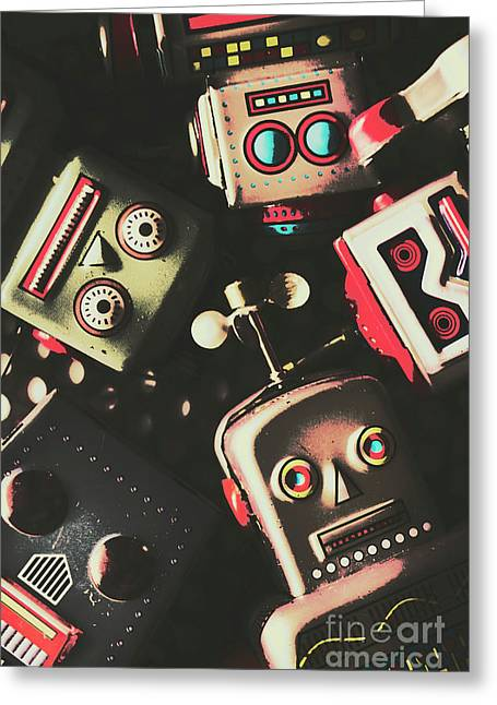 Science Fiction Robotic Faces Greeting Card by Jorgo Photography - Wall Art Gallery