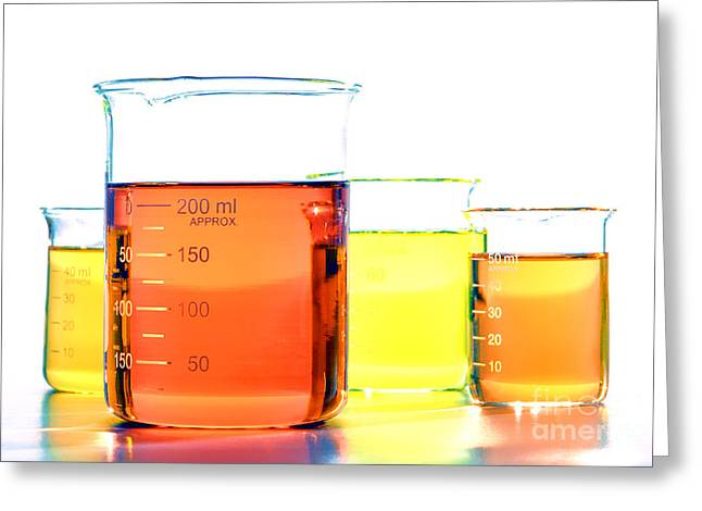 Sizes Greeting Cards - Scientific Beakers in Science Research Lab Greeting Card by Olivier Le Queinec