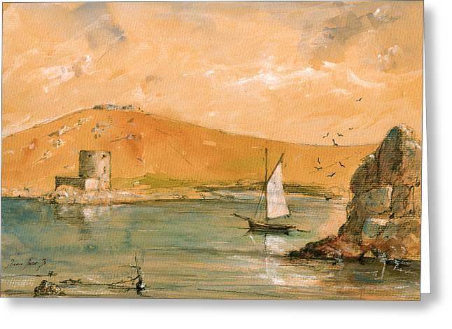 Scilly Islands Watercolor Painting Greeting Card by Juan  Bosco