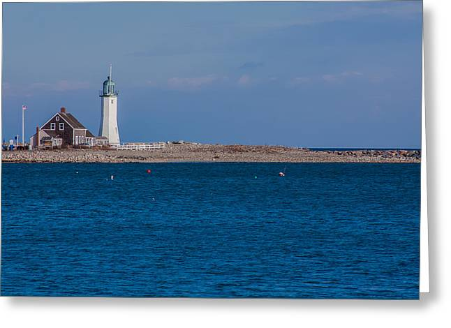 Boston Ma Greeting Cards - Scituate Lighthouse from across the Harbor Greeting Card by Brian MacLean