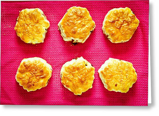 Bun Photographs Greeting Cards - Scones Greeting Card by Tom Gowanlock