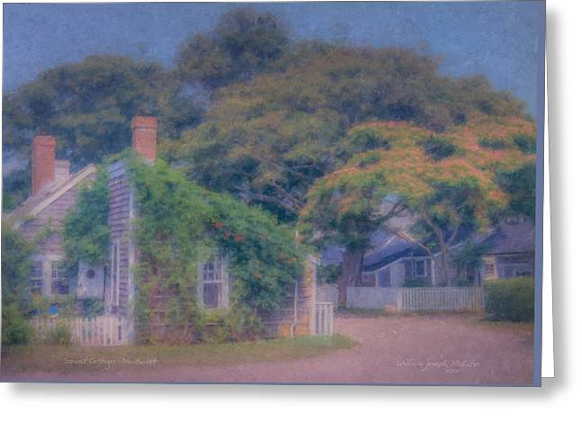 Impressionist Greeting Cards - Sconset Cottages Nantucket Greeting Card by Bill McEntee