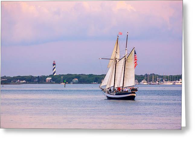 Historic Schooner Greeting Cards - Scooner Freedom Near St. Augustine Lighthouse Greeting Card by Rob Sellers