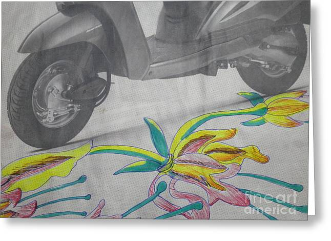 Abstract Digital Drawings Greeting Cards - Scooter and Flower design Greeting Card by Artist Nandika  Dutt