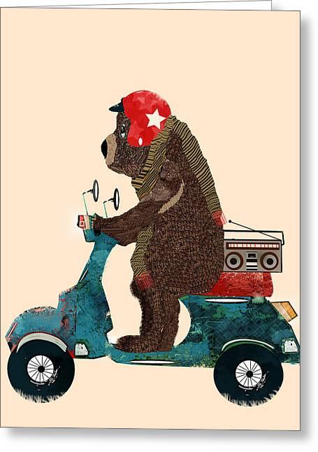 Brown Bear Digital Greeting Cards - Scooter Bear Greeting Card by Bri Buckley
