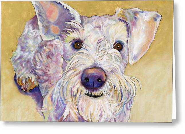 Pet Portraits Pastels Greeting Cards - Scooter Greeting Card by Pat Saunders-White