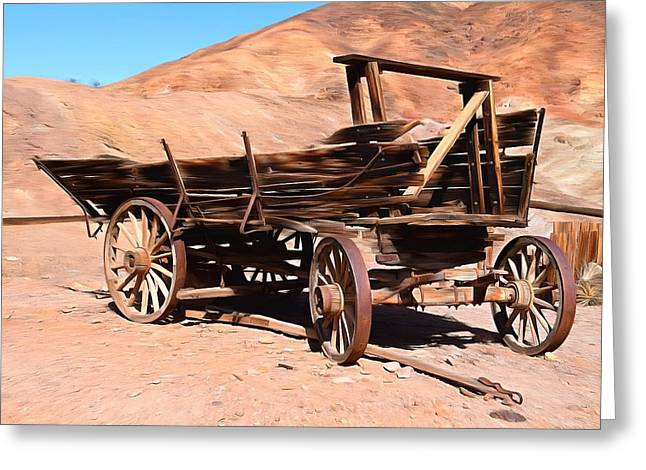 Wagon Wheels Greeting Cards - Scorched and Abandoned At Calico Ghost Town Greeting Card by Barbara Snyder