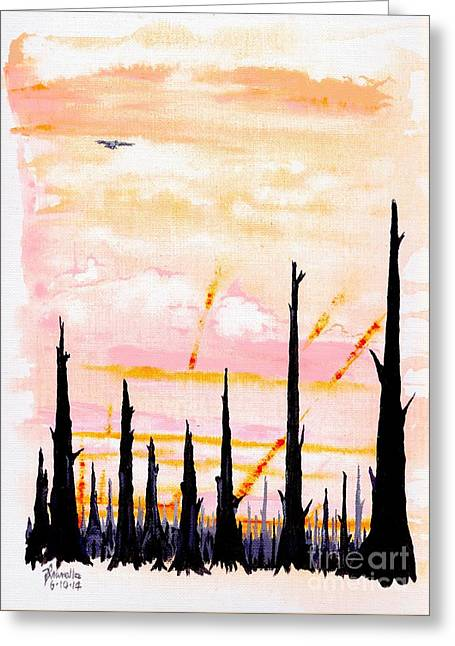 Woodland Scenes Drawings Greeting Cards - Scorched Greeting Card by Andooga Design