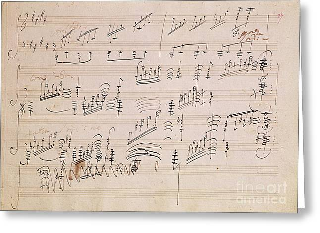 Paper Greeting Cards - Score sheet of Moonlight Sonata Greeting Card by Ludwig van Beethoven