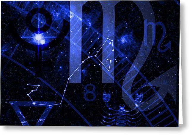 Constellations Digital Greeting Cards - Scorpio Greeting Card by JP Rhea