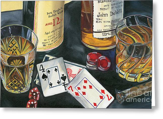Cognac Greeting Cards - Scotch cigars and cards Greeting Card by Debbie DeWitt
