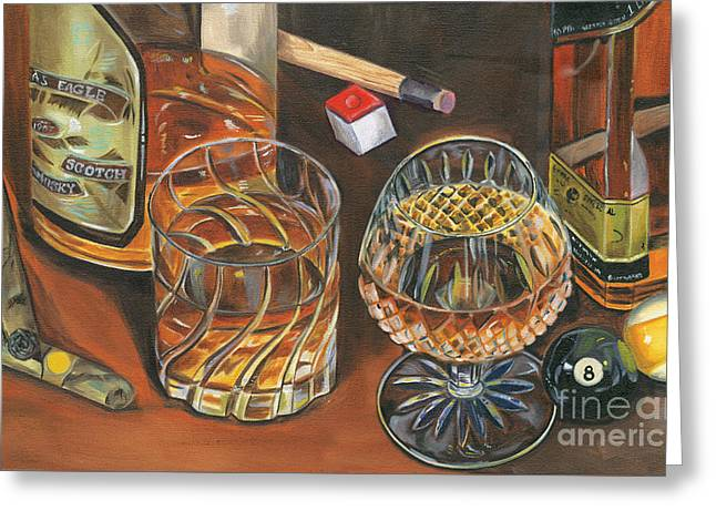 Liquor Greeting Cards - Scotch Cigars and Poll Greeting Card by Debbie DeWitt
