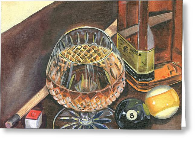Ball Room Greeting Cards - Scotch Cigars and Pool Greeting Card by Debbie DeWitt