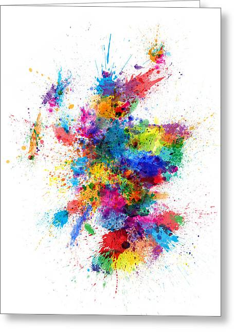Maps Greeting Cards - Scotland Paint Splashes Map Greeting Card by Michael Tompsett