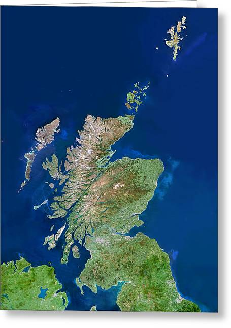 Outer Hebrides Greeting Cards - Scotland, Uk, Satellite Image Greeting Card by Planetobserver